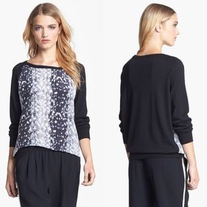 Joie Malena B Printed Silk Sweater Black